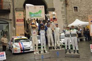 Il podio del 36° rally Il Ciocco a Castelnuovo di Garfagnana